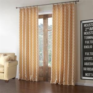 (Entrepôt UE) (Un panneau) Pays Jacquard orange motif géométrique polyester et coton rideaux obscurcisseurs de pièce-588