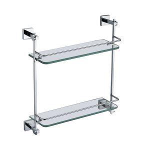 Etagères de salle de bains en verre chrome