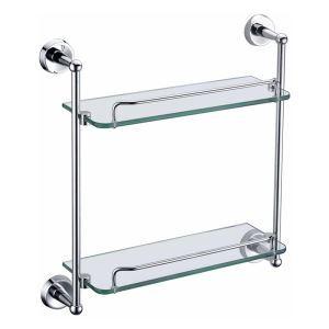 (Entrepôt UE) (En Stock) Nouveaux modernes étagères de salle de bains double couches en verre