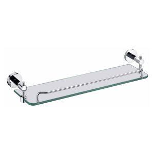Etagères de salle de bains en verre chrome L50cm