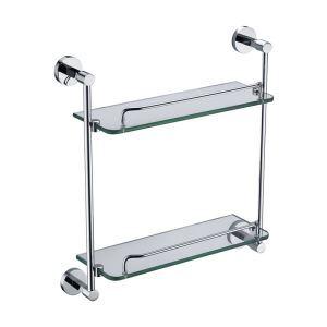 (Entrepôt UE)  Nouveau moderne étagère de salle de bain chrome de couleur double en verre