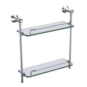 (Entrepôt UE) Nouveau moderne étagères de salle de bains chrome de couleur double en verre