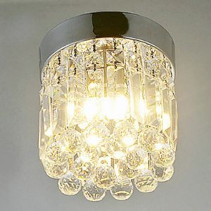 Plafonnier LED blanc chaud 1 lampe semi encastré en Cristal