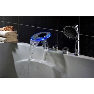 Robinet de baignoire avec douchette centrale hydroélectrique chromé LED Cascade Verre