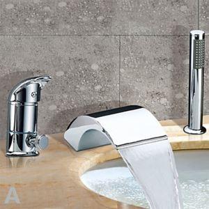 Robinet de baignoire Chromé cascade avec douchette 1 Poignée contemporain