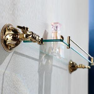 (Entrepôt UE) Contemporain Ti-PVD Finition Couleur d'or Étagère de salle de bain Laiton mural étagère en verre avec rail