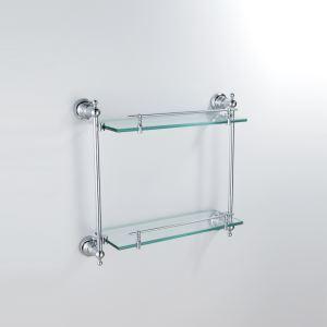 (Entrepôt UE) Moderne Contemporain Chrome Finition Argent Double-couche Étagère de salle de bain Laiton mural étagère en verre avec rail