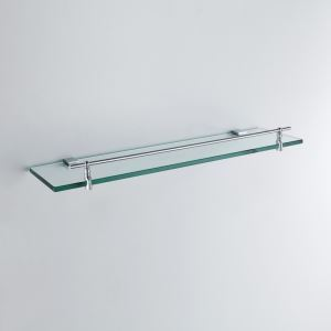 (Entrepôt UE) Moderne Contemporain Chrome Finition Argent Une seule couche Étagère de salle de bain Laiton mural étagère en verre avec rail
