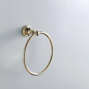 (Entrepôt UE) Anneau à serviette en laiton contemporain couleur d'or Ti-PVD pour salle de bain