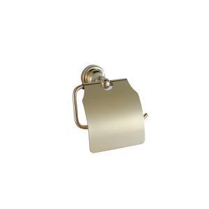 Afficher les détails pour (Entrepôt UE) Contemporain Couleur d'or Ti-PVD Finition Porte-papier de toilette avec Couverture mural Laiton Distributeur de papier toilette