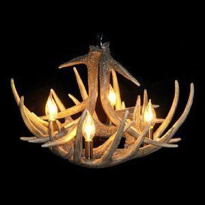Lustre suspension en résine à 4 lampes bois du cerf D52cm pour cuisine chambre salle