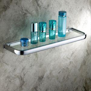Etagère en verre laiton chrome L50cm pour salle de bain