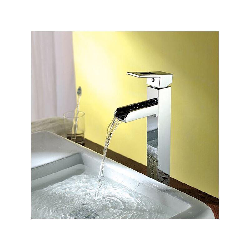 robinet d vier cascade en laiton chrome pas cher pour salle de bain. Black Bedroom Furniture Sets. Home Design Ideas
