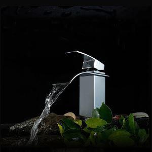 (Entrepôt UE) (En Stock) Chromé robinet cascade fini solide cuivre unique levier bassin