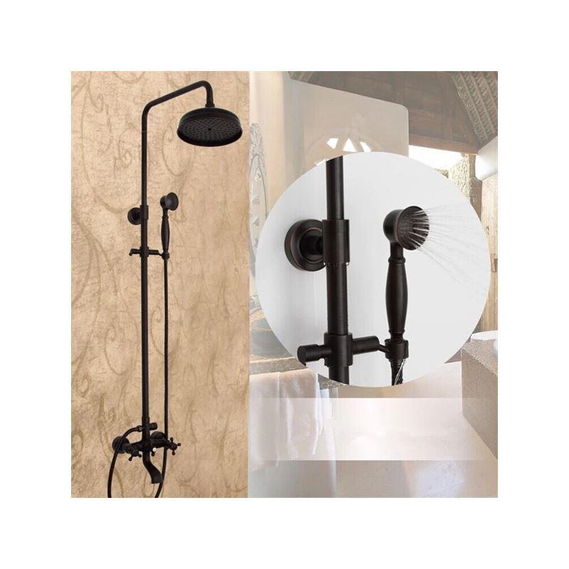 colonne de douche avec douchette laiton orb noir pour salle de bains. Black Bedroom Furniture Sets. Home Design Ideas