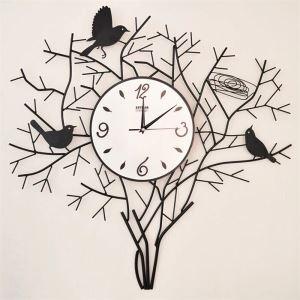 Horloge murale en métal moderne simple à motif des oiseaux déco mural pour chambre salle