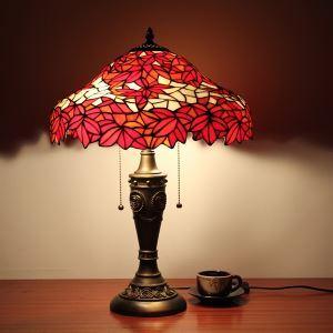 (Entrepôt UE) Style de Tiffany feuille d'érable rouge fini bronzé Lampe de table (0923-TF15)