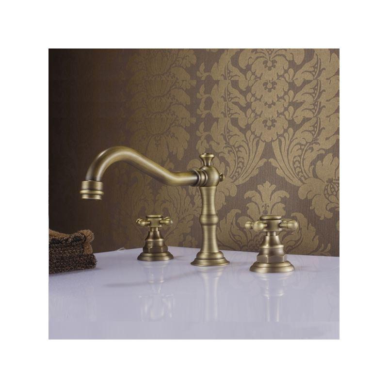 robinet lavabo laiton antique 3 trous 2 poign es. Black Bedroom Furniture Sets. Home Design Ideas