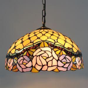 (Entrepôt UE) Tiffany Lustre verre pendentif Lampes avec 2 lampes