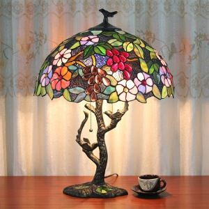 Afficher les détails pour (Entrepôt UE) Lampe de table Tiffany 16 pouce classique avec 2 lumières lampe de chevet luminaire chambre délicat design
