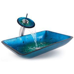 (Entrepôt UE) Victoire rectangulaire bleu en verre trempé Évier et le robinet cascade (0917-VT4032)