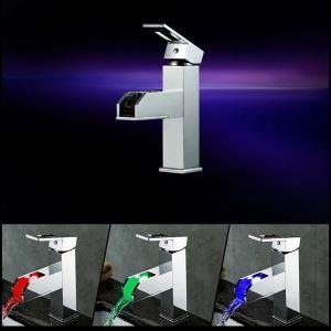 (Entrepôt UE) Robinet  lavabo LED cascade pour salle de bains style moderne simple