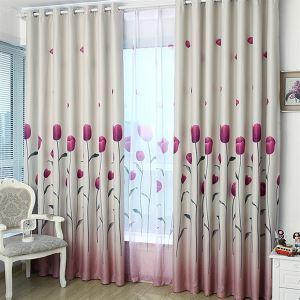(Entrepôt UE) (Un panneau) Pays Modèle d'impression de rayure violet polyester et coton rideaux obscurcisseurs de pièce-618