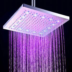 (Entrepôt UE) 12 Pouces chromé laiton carré pomme de douche pluie LED (0913-8106)