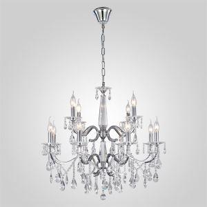 Lustre cristal à 12 lumières moderne D70cm pour salon