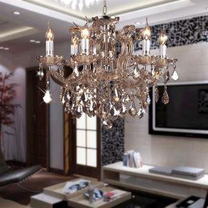Lustre en cristal de luxe à 6 lumières D60cm en forme de bougie luminaire pour salle salon chambre
