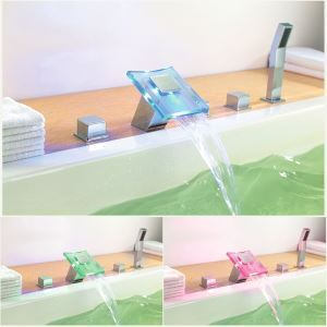 Couleur changeante LED hydroélectricité cascade répandue baignoire robinet - fini chromé