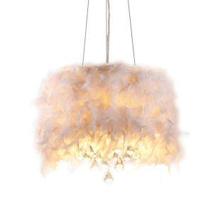 (En Stock) Plume en Blanche Lustre avec 3 lampes goutte en cristal