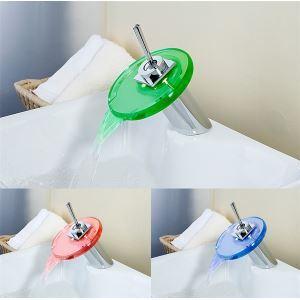 (Entrepôt UE) Poignée droite robinet automatique température contrôle 3 couleurs changeantes LED verre bassin robinet mitigeur