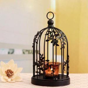 (Entrepôt UE) Bougeoir en métal noir feuilles décoratives