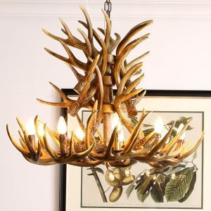 Lampe Lustre artificielle style nordique rustique à deux niveaux avec 9 lumières