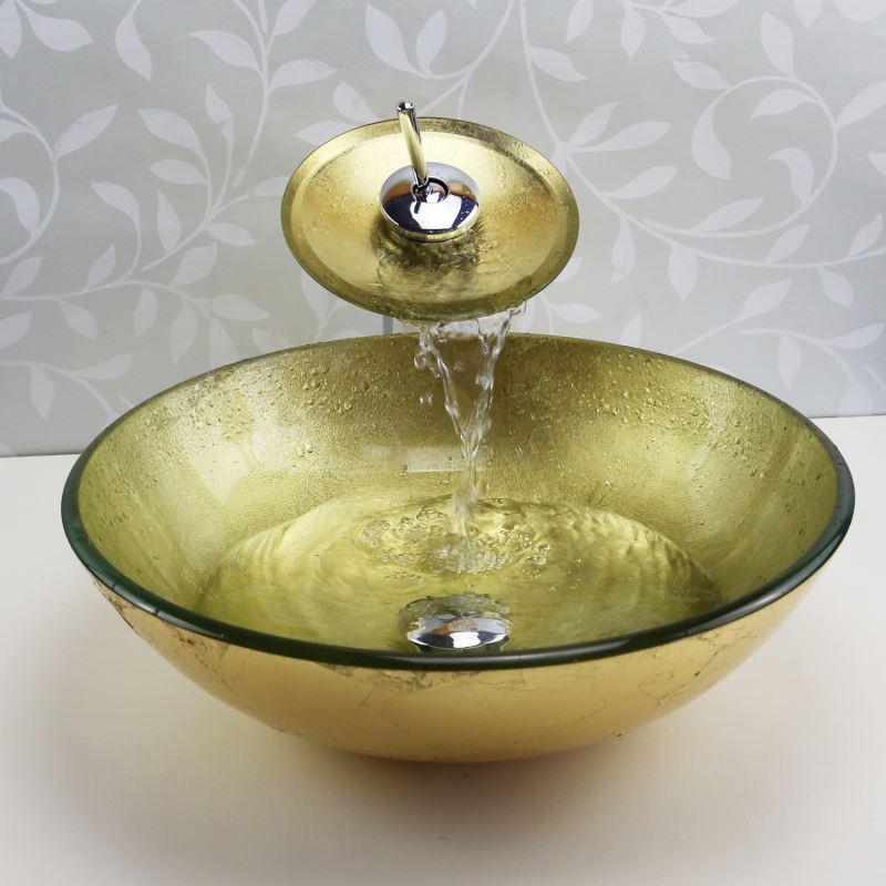 entrep t ue lavabo en verre tremp avec robinet or rond pour salle de bain simple moderne. Black Bedroom Furniture Sets. Home Design Ideas