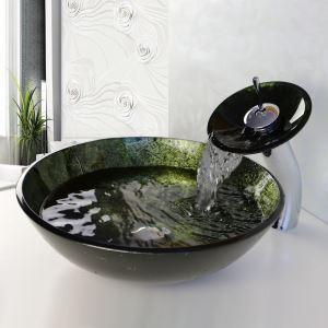 (Entrepôt UE) Lavabo évier salle de bain en verre trempé avec robinet (ensembles) pour toilettes pas cher