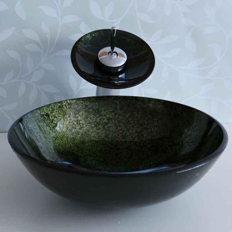lavabo en verre l 42 cm avec robinet pour toilettes salle de bain. Black Bedroom Furniture Sets. Home Design Ideas