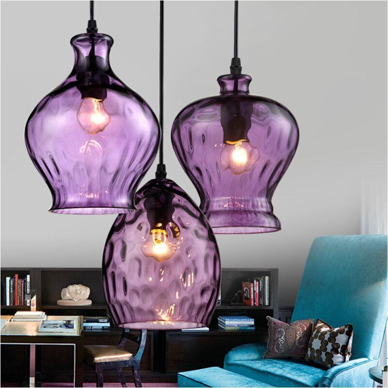 luminaire lampes de plafond lampe suspendue lumi re r tro industrielle pendentif violet. Black Bedroom Furniture Sets. Home Design Ideas