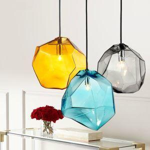 Lustre à 3 lampes en verre coloré décoratif pour cuisine chambre salle