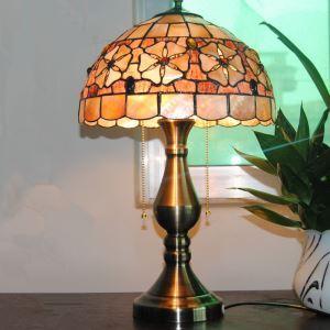 (Entrepôt UE) Paradisiaque européen Rétro Tiffany lampe table avec 2 lumières
