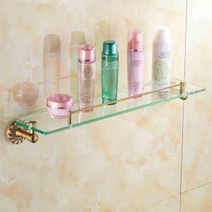 Etagère de salle de bain en laiton verre antique