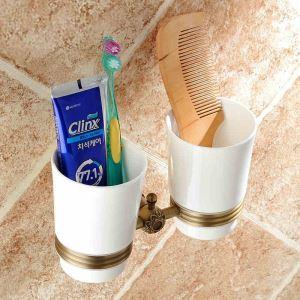 (Entrepôt UE) Salle de bains Vintage européen accessoires en laiton antique porte Double Brosse à dents