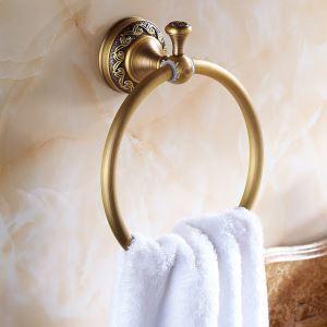 Vintage Salle de bains Accessoires Anneau Antique européen en laiton porte-serviettes