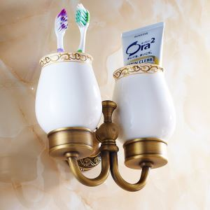 (Entrepôt UE) Salle de bains Vintage européen accessoires en laiton antique Support Double Brosse à dents