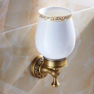 (Entrepôt UE) Salle de bains Vintage européen accessoires en laiton antique simple porte de brosse à dents
