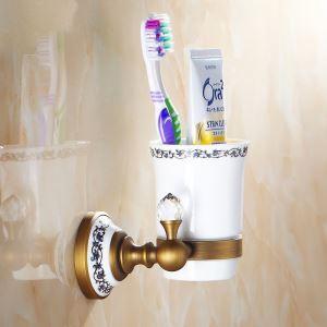 (Entrepôt UE) Vintage bains Titulaire style européen accessoires en laiton antique support de brosse à dents