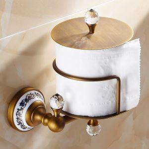 Porte-rouleau de papier en laiton H 16 cm brossé vintage accessoires de salle de bain toilettes