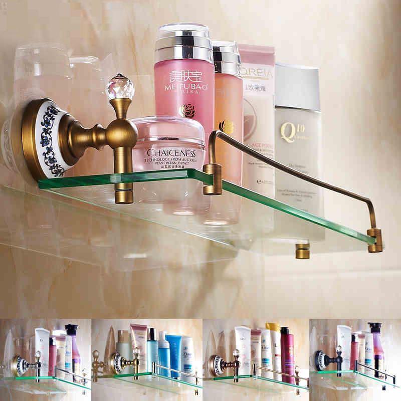 Entrep t ue etag re en verre de salle de bain vintage for Mini etagere salle de bain