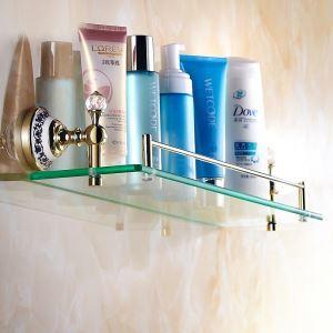 Etagère en verre laiton Ti-PVD pour salle de bain